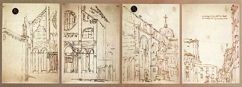 Drawings by Canaletto obtained with a camera obscura