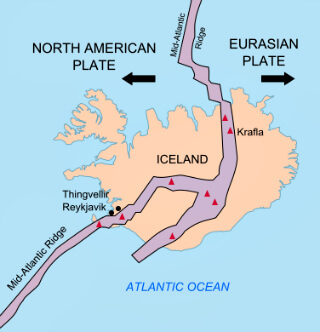 Mid-Atlantic Ridge splitting Iceland
