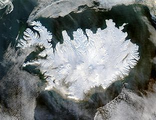Satellite image of Iceland