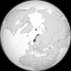 Norway on the globe