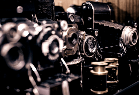 Vintage cameras on display