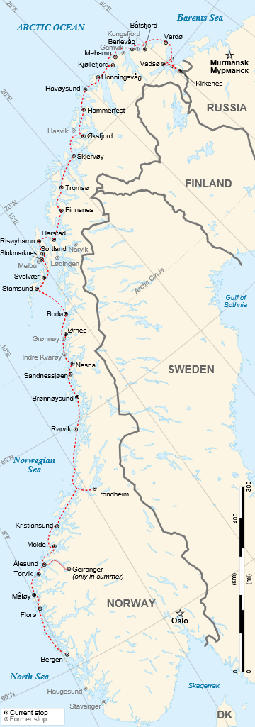 Map of Hurtigruten