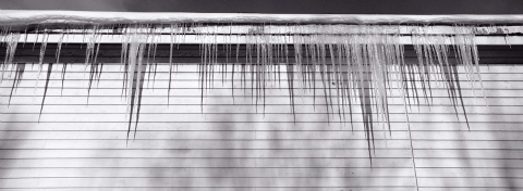 Icicles on a house in Finnsnes, Norway