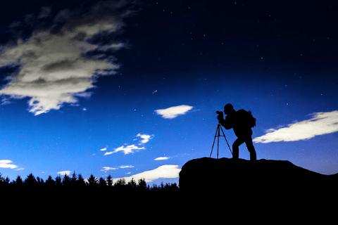 Landscape photographer on location