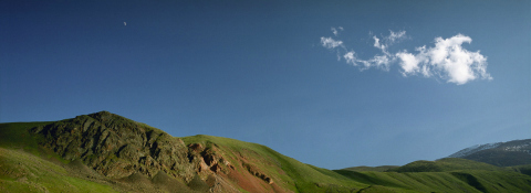 Moonrise over Mongolian hills