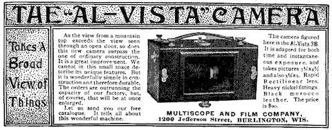 Early panoramic camera advertisement