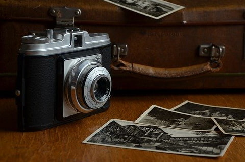 Vintage film camera and photos