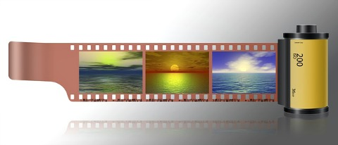 Film roll with landscape images