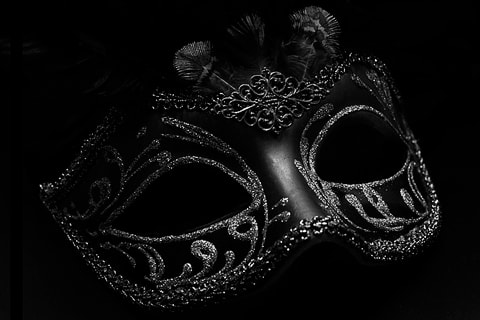 Venetian carnival mask in black and white