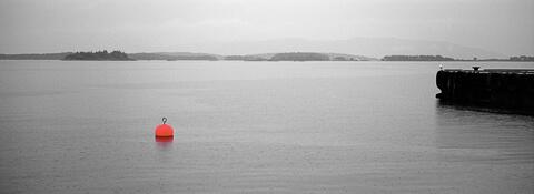 Rain in Molde harbour, Norway