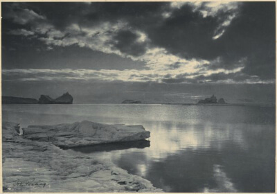 Midnight in the Antarctic summer, by H. Ponting