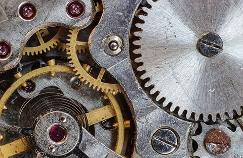 Mechanical watch movement detail