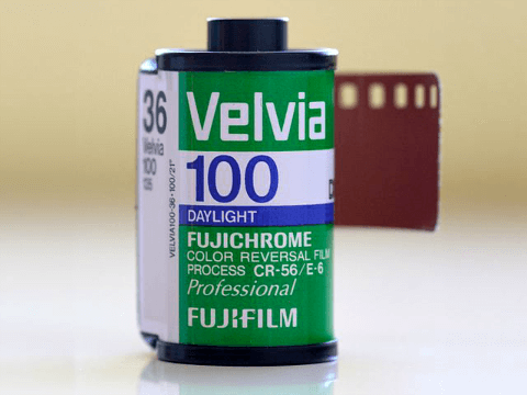 Fujifilm Velvia film cartridge